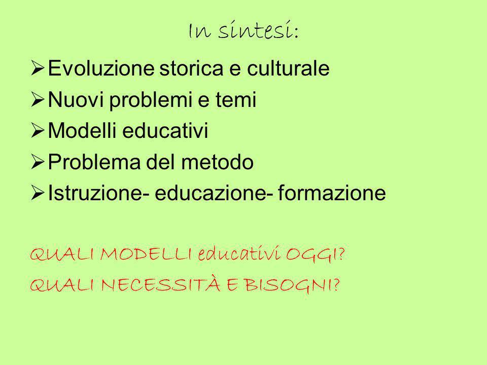 In sintesi:  Evoluzione storica e culturale  Nuovi problemi e temi  Modelli educativi  Problema del metodo  Istruzione- educazione- formazione QU