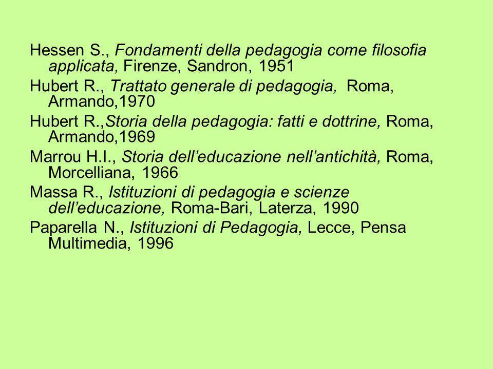 Hessen S., Fondamenti della pedagogia come filosofia applicata, Firenze, Sandron, 1951 Hubert R., Trattato generale di pedagogia, Roma, Armando,1970 H