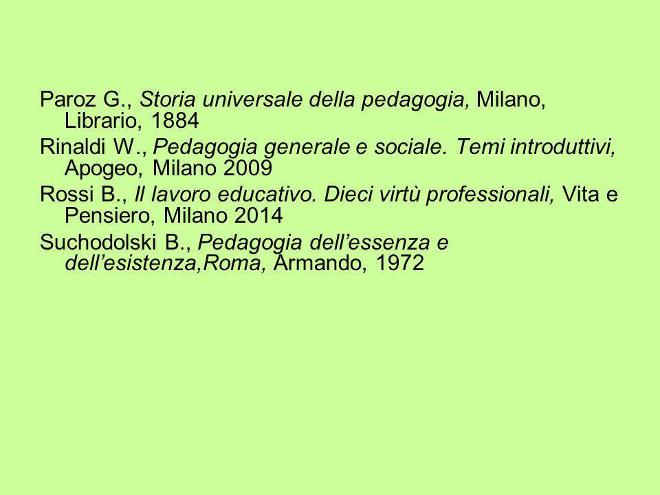 Paroz G., Storia universale della pedagogia, Milano, Librario, 1884 Rinaldi W., Pedagogia generale e sociale. Temi introduttivi, Apogeo, Milano 2009 R