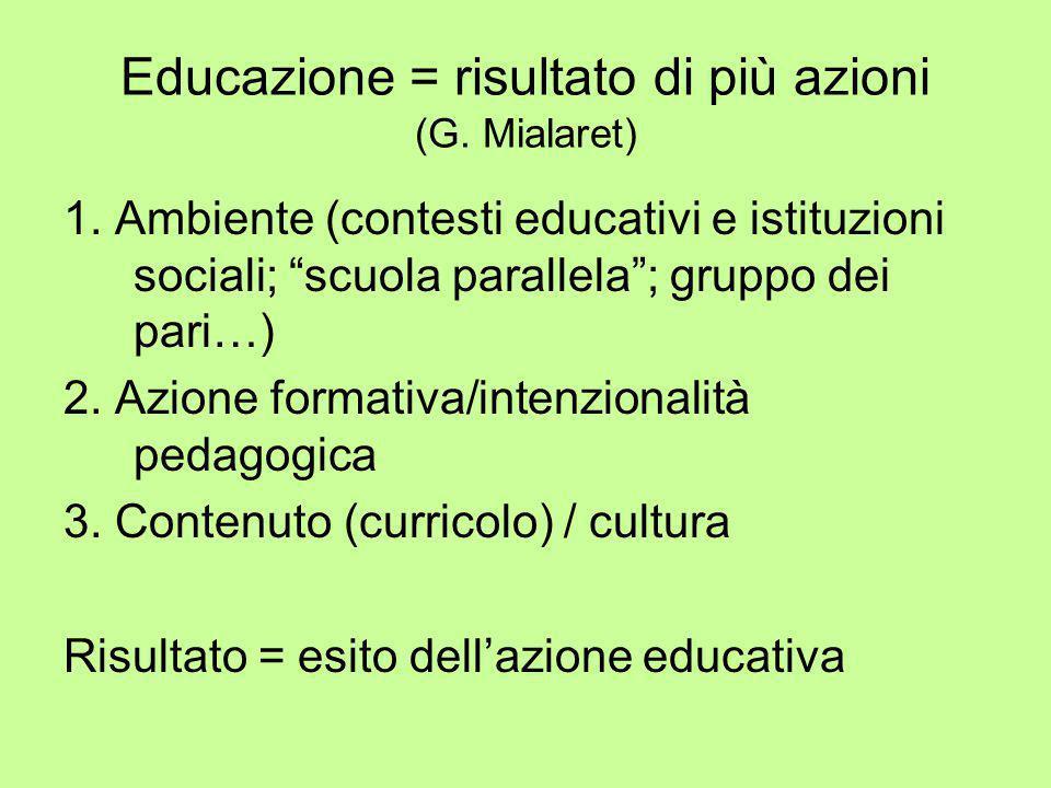 """Educazione = risultato di più azioni (G. Mialaret) 1. Ambiente (contesti educativi e istituzioni sociali; """"scuola parallela""""; gruppo dei pari…) 2. Azi"""