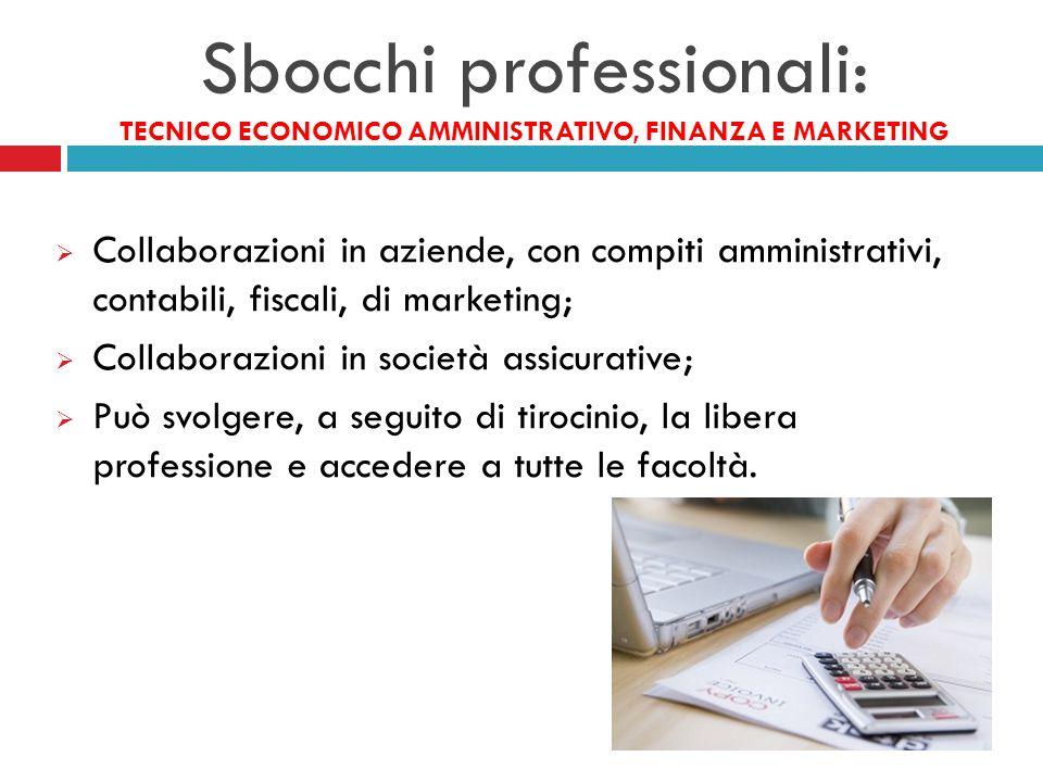 Sbocchi professionali: TECNICO ECONOMICO AMMINISTRATIVO, FINANZA E MARKETING  Collaborazioni in aziende, con compiti amministrativi, contabili, fisca