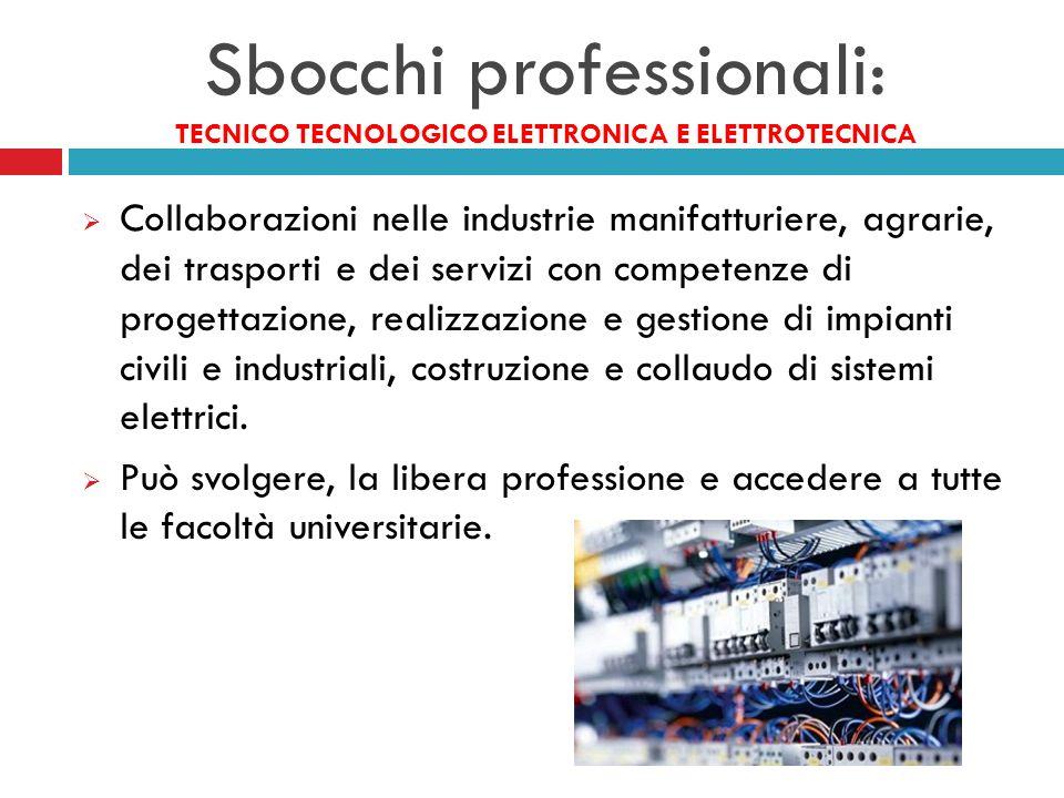 Sbocchi professionali: TECNICO TECNOLOGICO ELETTRONICA E ELETTROTECNICA  Collaborazioni nelle industrie manifatturiere, agrarie, dei trasporti e dei