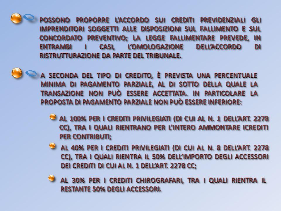 POSSONO PROPORRE L'ACCORDO SUI CREDITI PREVIDENZIALI GLI IMPRENDITORI SOGGETTI ALLE DISPOSIZIONI SUL FALLIMENTO E SUL CONCORDATO PREVENTIVO; LA LEGGE FALLIMENTARE PREVEDE, IN ENTRAMBI I CASI, L'OMOLOGAZIONE DELL'ACCORDO DI RISTRUTTURAZIONE DA PARTE DEL TRIBUNALE.