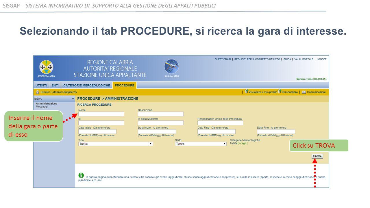 Infine, dopo aver verificato quanto inserito, l'operatore invia l'offerta effettuando un click su INVIA OFFERTA SISGAP - SISTEMA INFORMATIVO DI SUPPORTO ALLA GESTIONE DEGLI APPALTI PUBBLICI