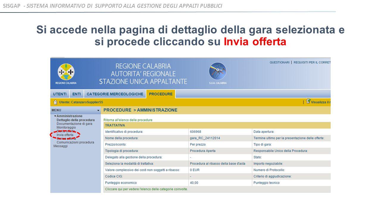 Si visualizza la pagina DICHIARAZIONE E DOCUMENTI DI PARTECIPAZIONE dove inserire la documentazione relativa alla Busta A.