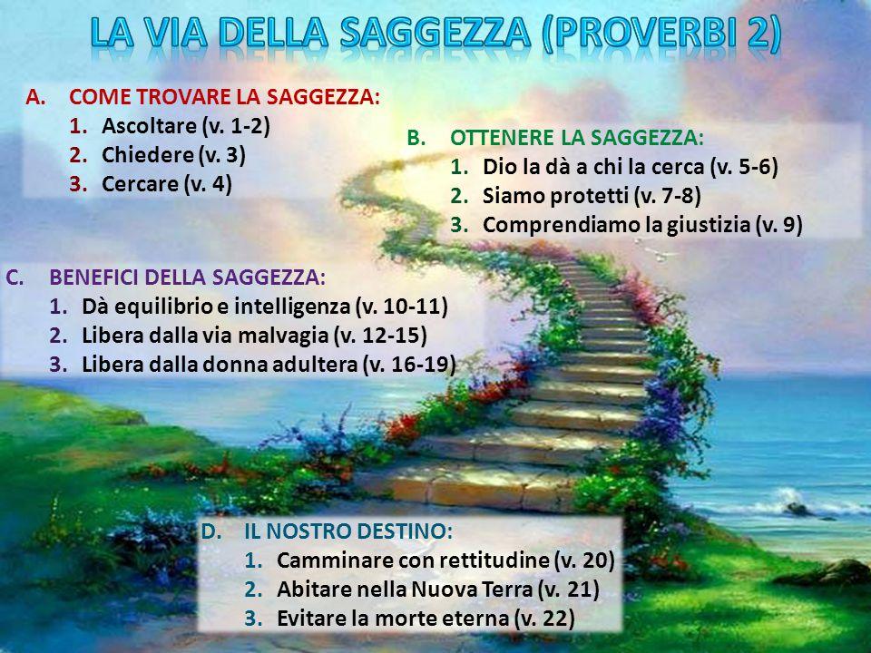 A.COME TROVARE LA SAGGEZZA: 1.Ascoltare (v. 1-2) 2.Chiedere (v. 3) 3.Cercare (v. 4) B.OTTENERE LA SAGGEZZA: 1.Dio la dà a chi la cerca (v. 5-6) 2.Siam