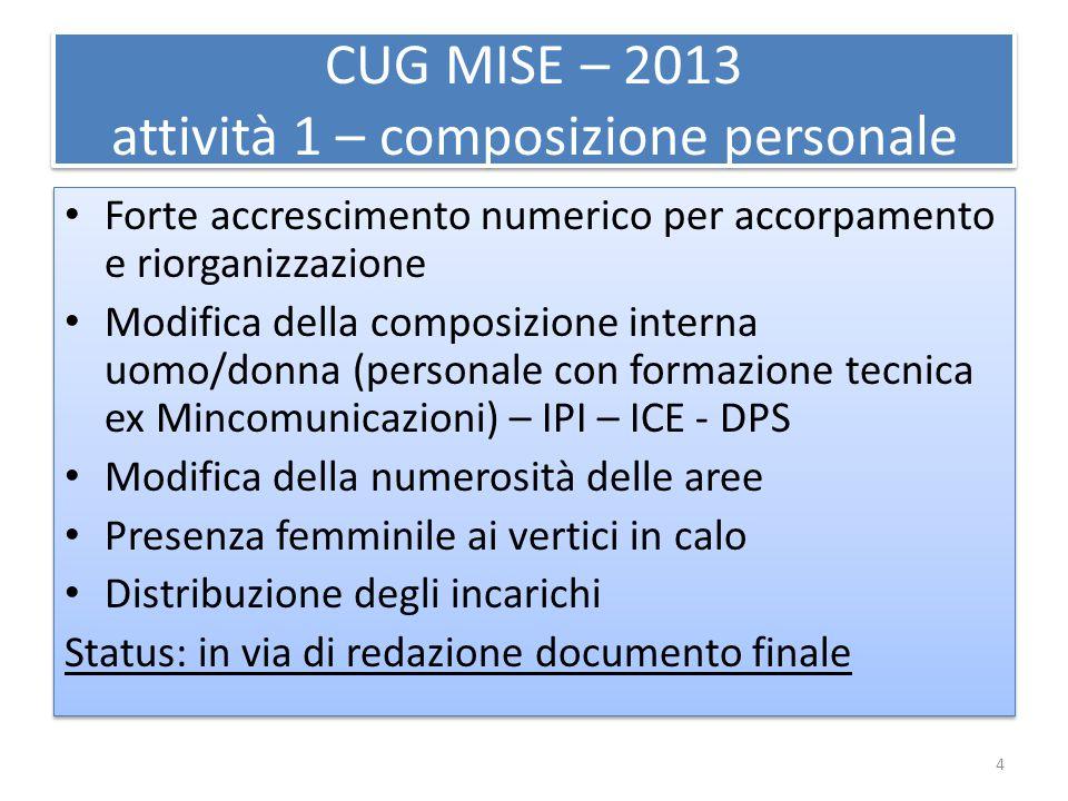 CUG MISE – 2013 attività 1 – composizione personale Forte accrescimento numerico per accorpamento e riorganizzazione Modifica della composizione inter