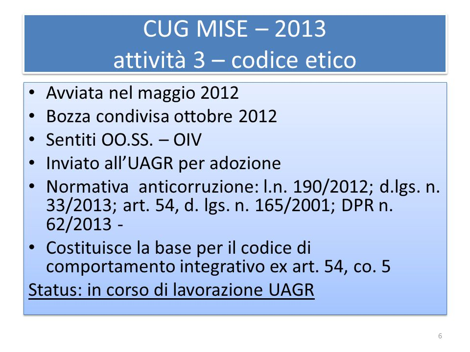 CUG MISE – 2013 attività 3 – codice etico Avviata nel maggio 2012 Bozza condivisa ottobre 2012 Sentiti OO.SS. – OIV Inviato all'UAGR per adozione Norm