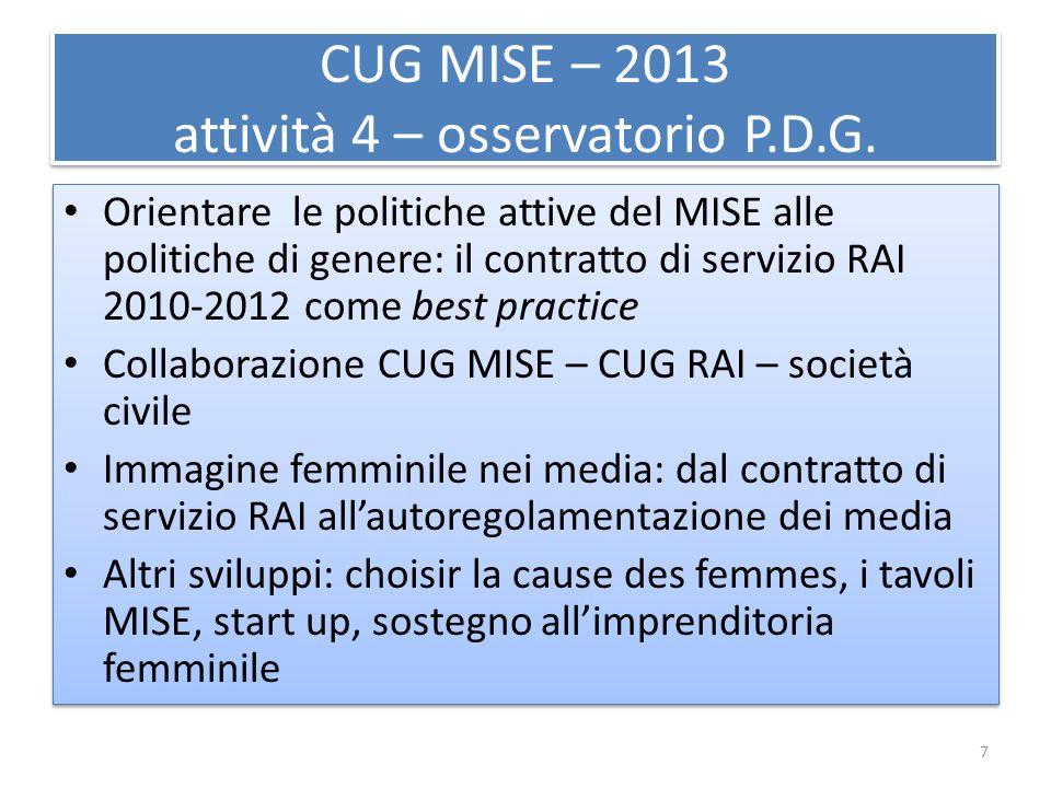 CUG MISE – 2013 attività 4 – osservatorio P.D.G. Orientare le politiche attive del MISE alle politiche di genere: il contratto di servizio RAI 2010-20