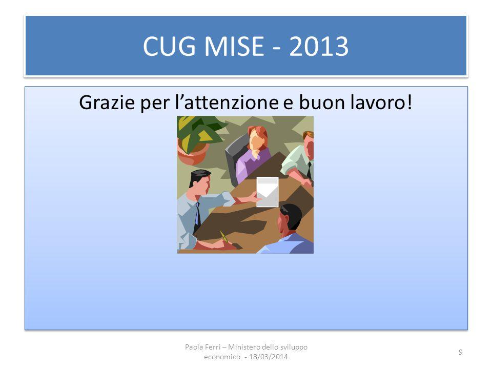 CUG MISE - 2013 Grazie per l'attenzione e buon lavoro! 9 Paola Ferri – Ministero dello sviluppo economico - 18/03/2014