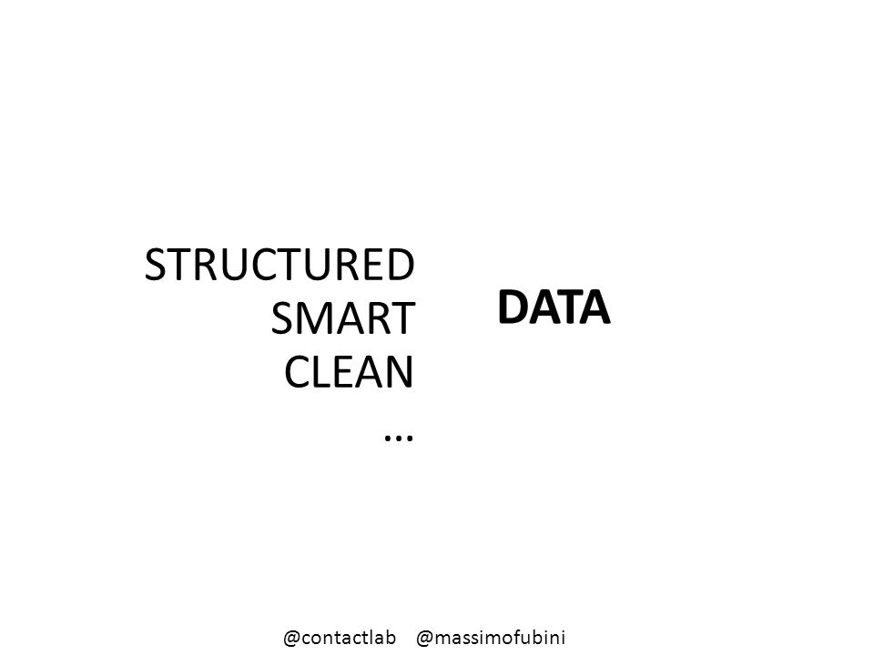 DATA STRUCTURED SMART CLEAN … @contactlab @massimofubini