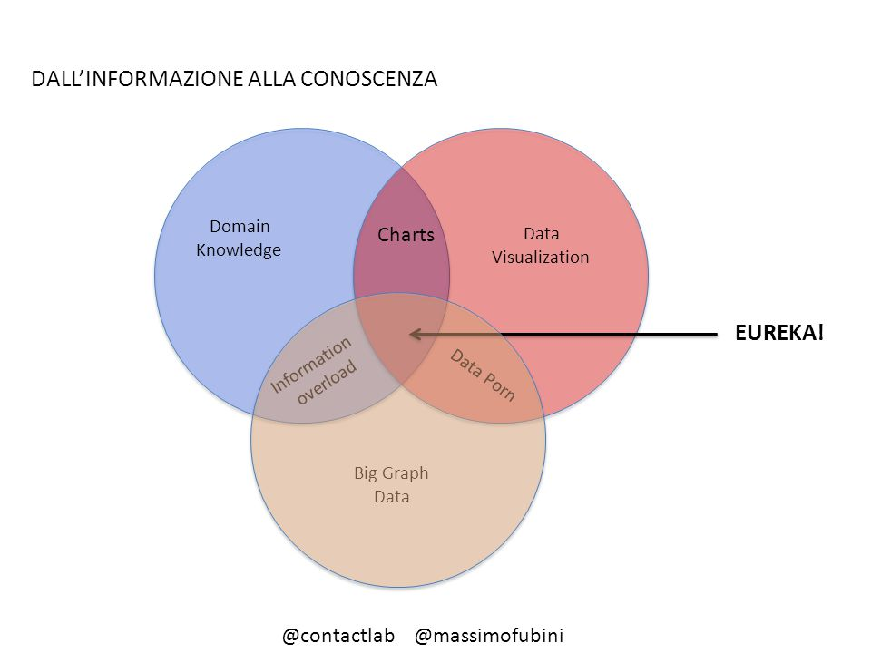 Data Visualization Domain Knowledge Big Graph Data Information overload Charts Data Porn EUREKA! DALL'INFORMAZIONE ALLA CONOSCENZA @contactlab @massim