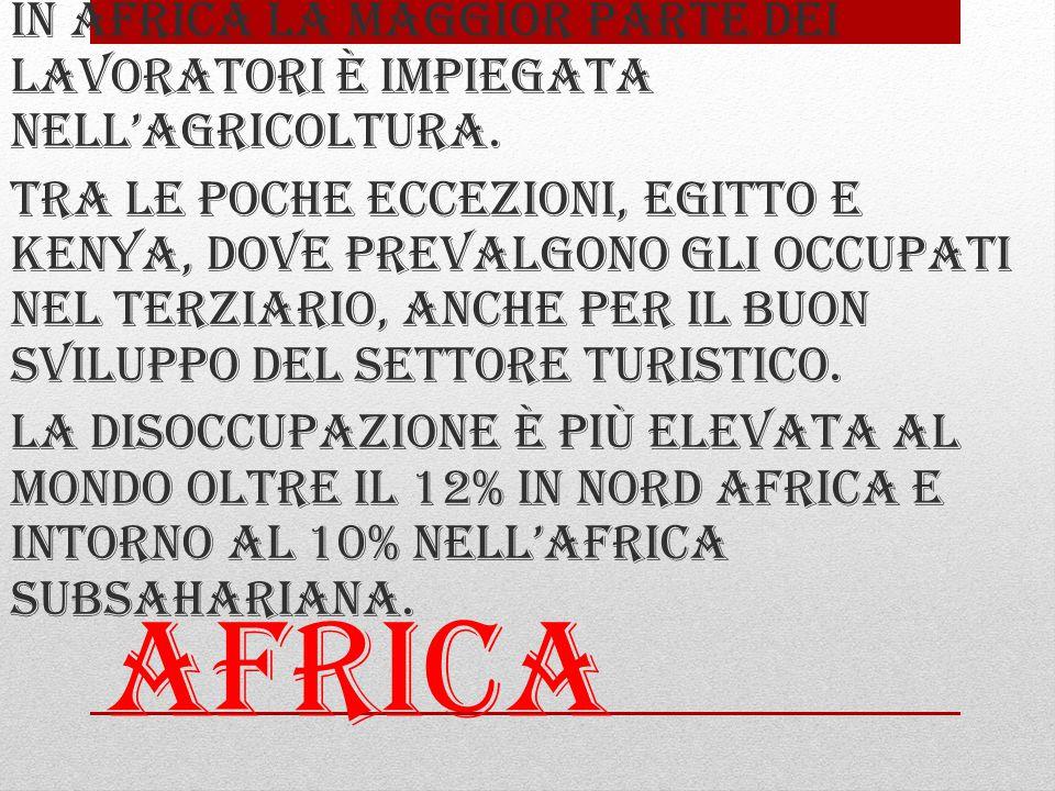 Africa In africa la maggior parte dei lavoratori è impiegata nell'agricoltura.