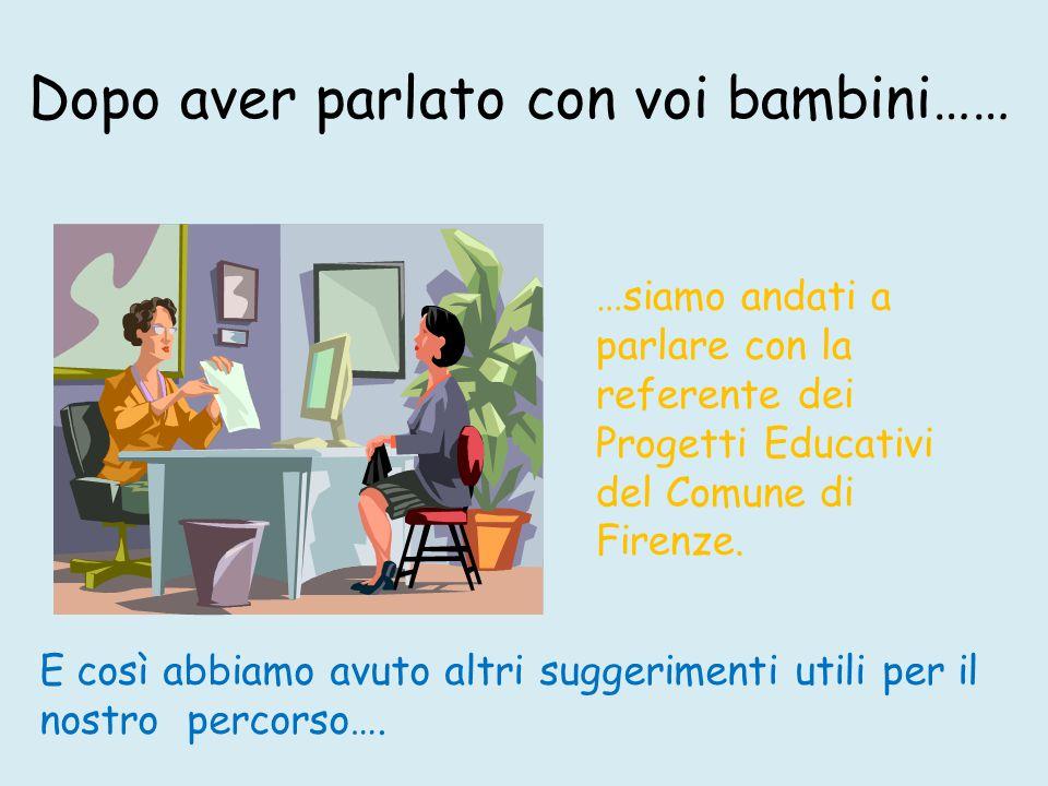 Dopo aver parlato con voi bambini…… …siamo andati a parlare con la referente dei Progetti Educativi del Comune di Firenze.