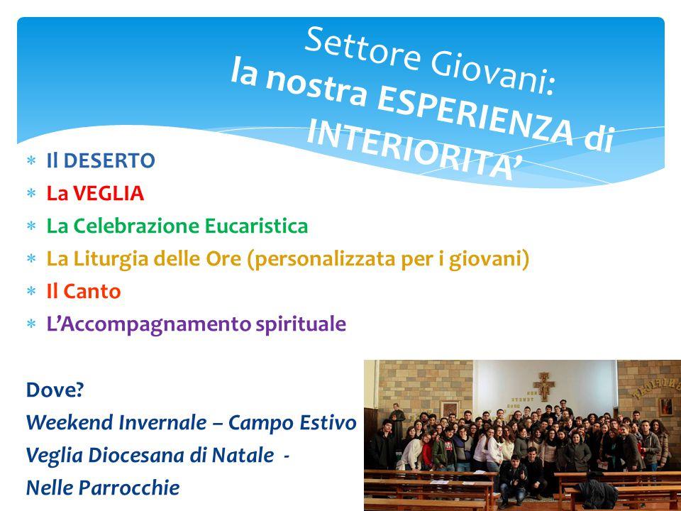  Il DESERTO  La VEGLIA  La Celebrazione Eucaristica  La Liturgia delle Ore (personalizzata per i giovani)  Il Canto  L'Accompagnamento spirituale Dove.