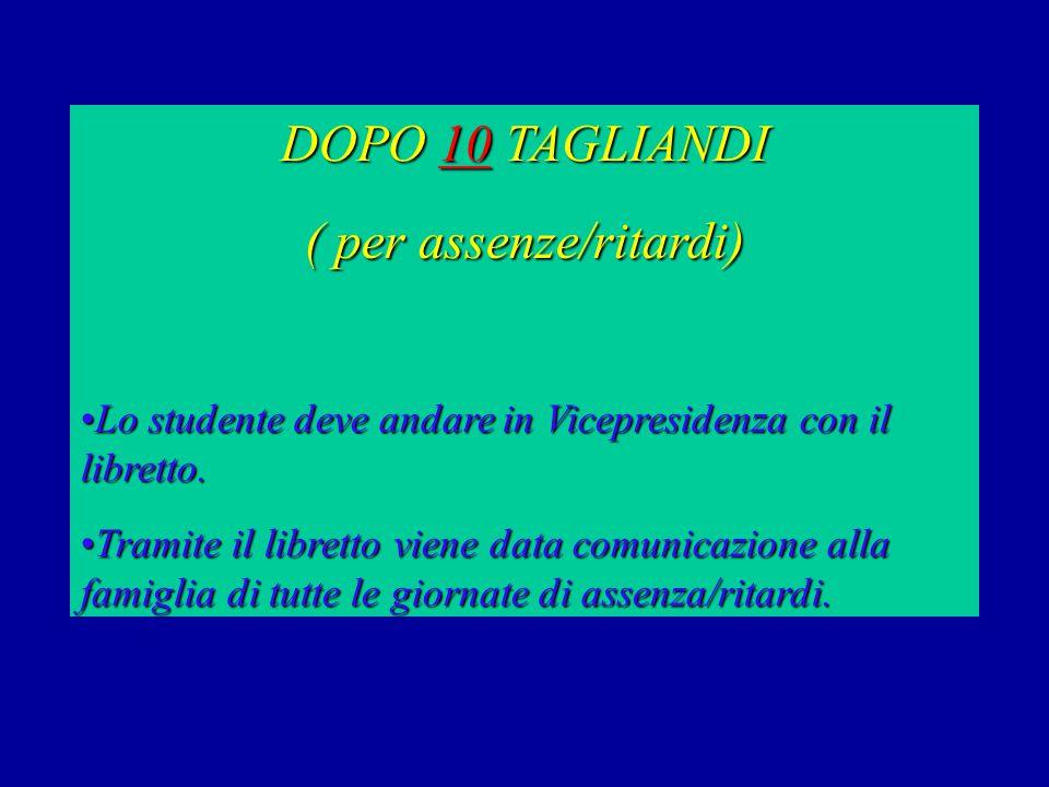DOPO 10 TAGLIANDI ( per assenze/ritardi) Lo studente deve andare in Vicepresidenza con il libretto.Lo studente deve andare in Vicepresidenza con il libretto.