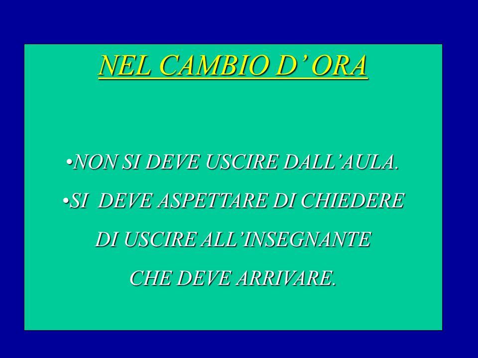 NEL CAMBIO D' ORA NON SI DEVE USCIRE DALL'AULA.NON SI DEVE USCIRE DALL'AULA.
