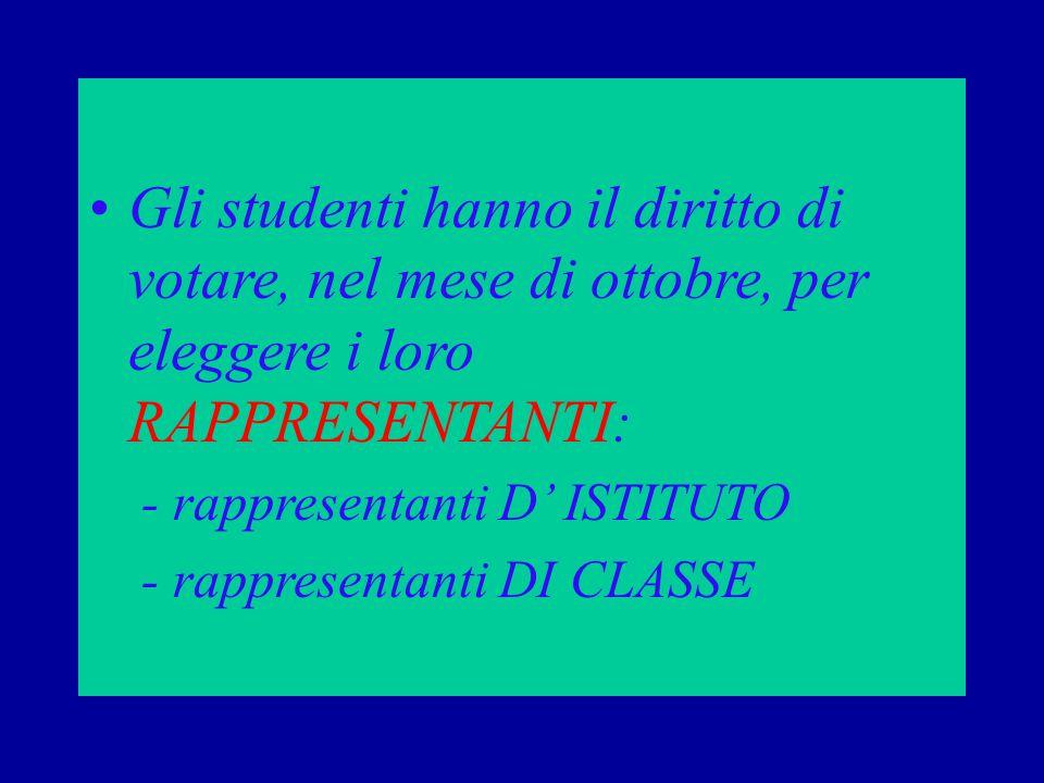 Gli studenti hanno il diritto di votare, nel mese di ottobre, per eleggere i loro RAPPRESENTANTI: - rappresentanti D' ISTITUTO - rappresentanti DI CLASSE