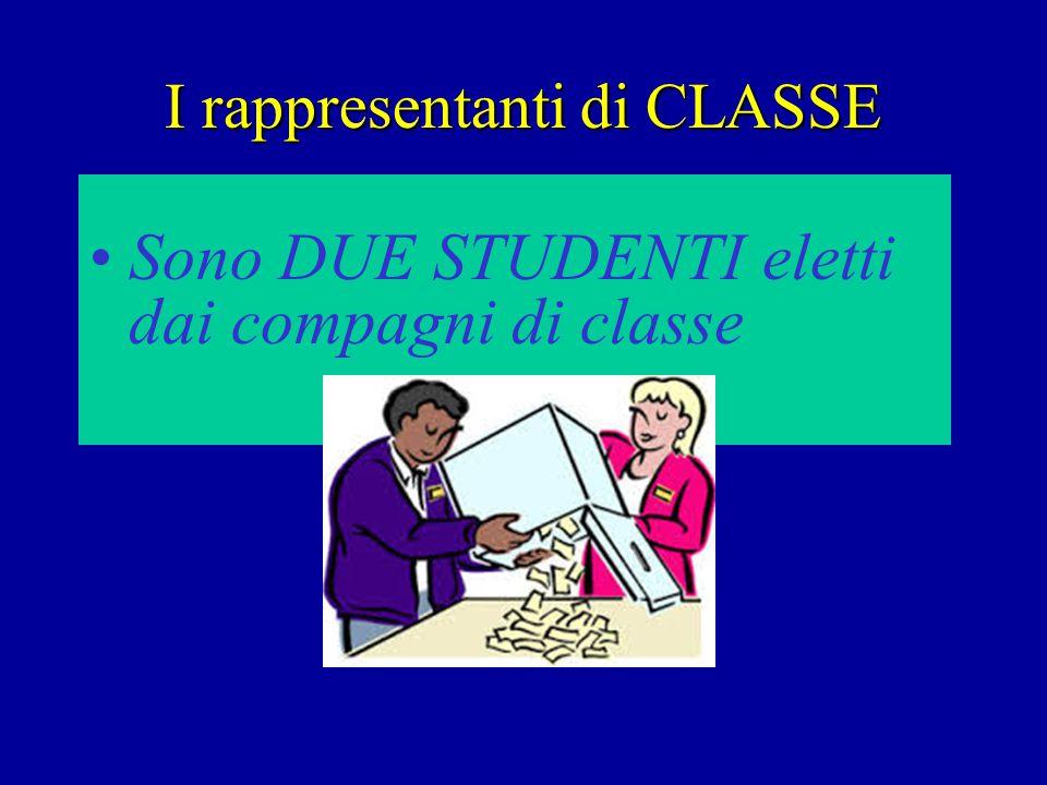 I rappresentanti di CLASSE Sono DUE STUDENTI eletti dai compagni di classe