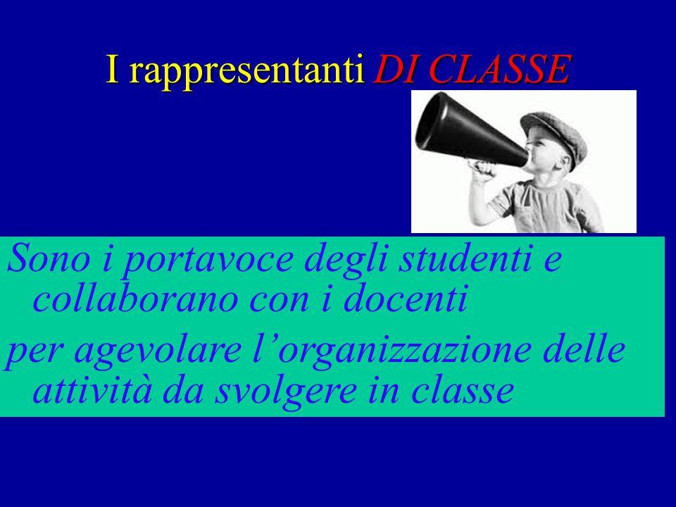 I rappresentanti DI CLASSE Sono i portavoce degli studenti e collaborano con i docenti per agevolare l'organizzazione delle attività da svolgere in classe