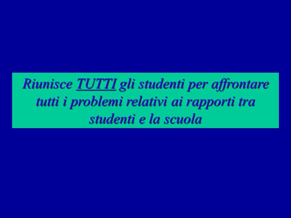 Riunisce TUTTI gli studenti per affrontare tutti i problemi relativi ai rapporti tra studenti e la scuola