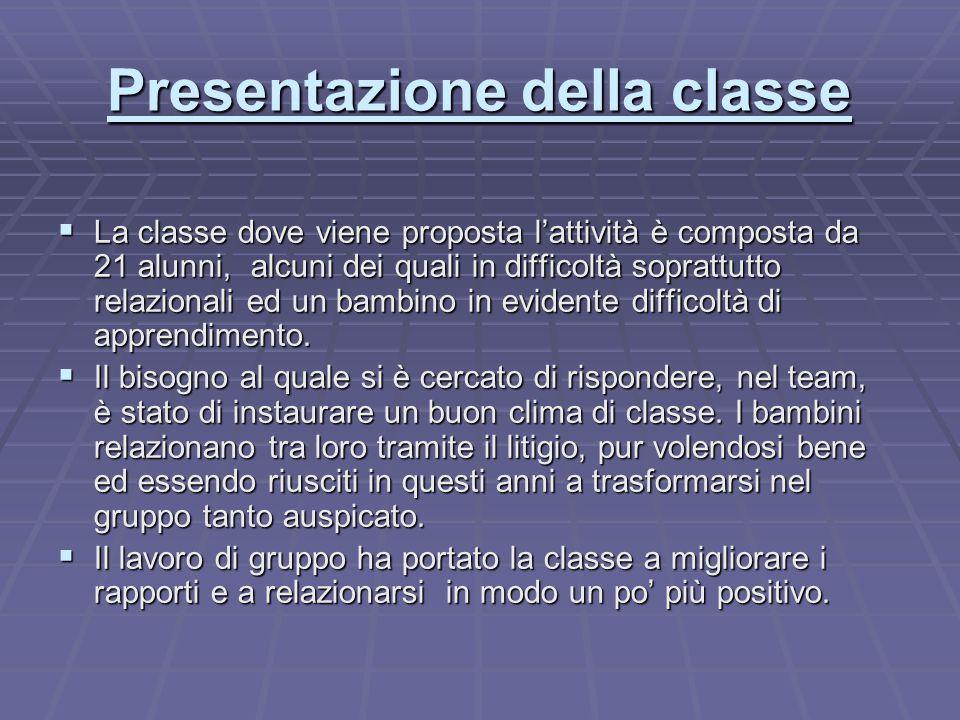 Presentazione della classe  La classe dove viene proposta l'attività è composta da 21 alunni, alcuni dei quali in difficoltà soprattutto relazionali ed un bambino in evidente difficoltà di apprendimento.