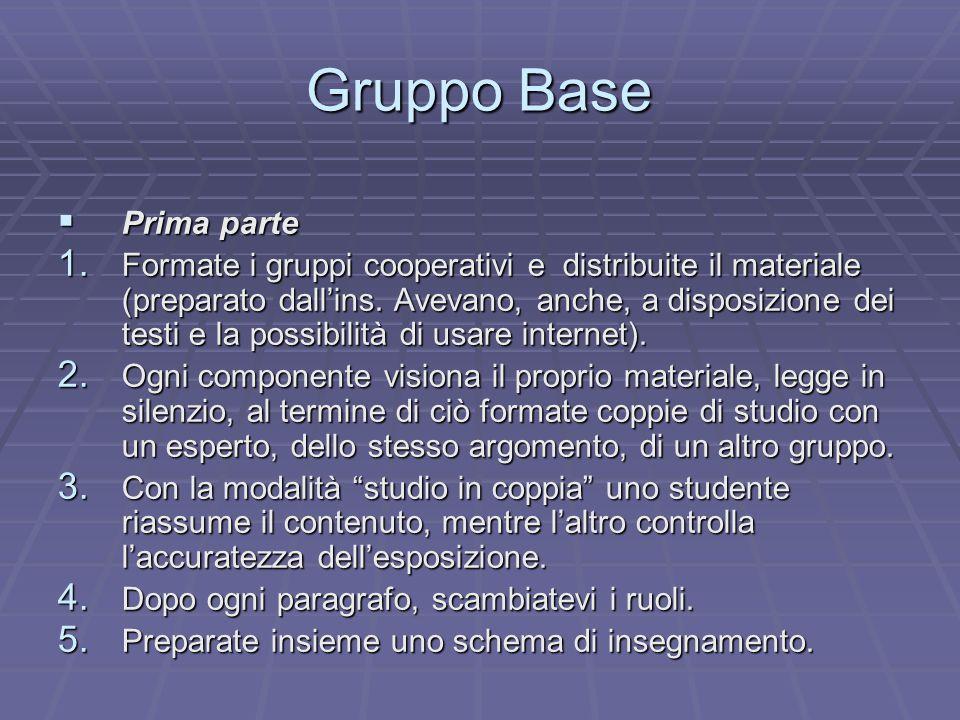 Gruppo Base  Prima parte 1. Formate i gruppi cooperativi e distribuite il materiale (preparato dall'ins. Avevano, anche, a disposizione dei testi e l