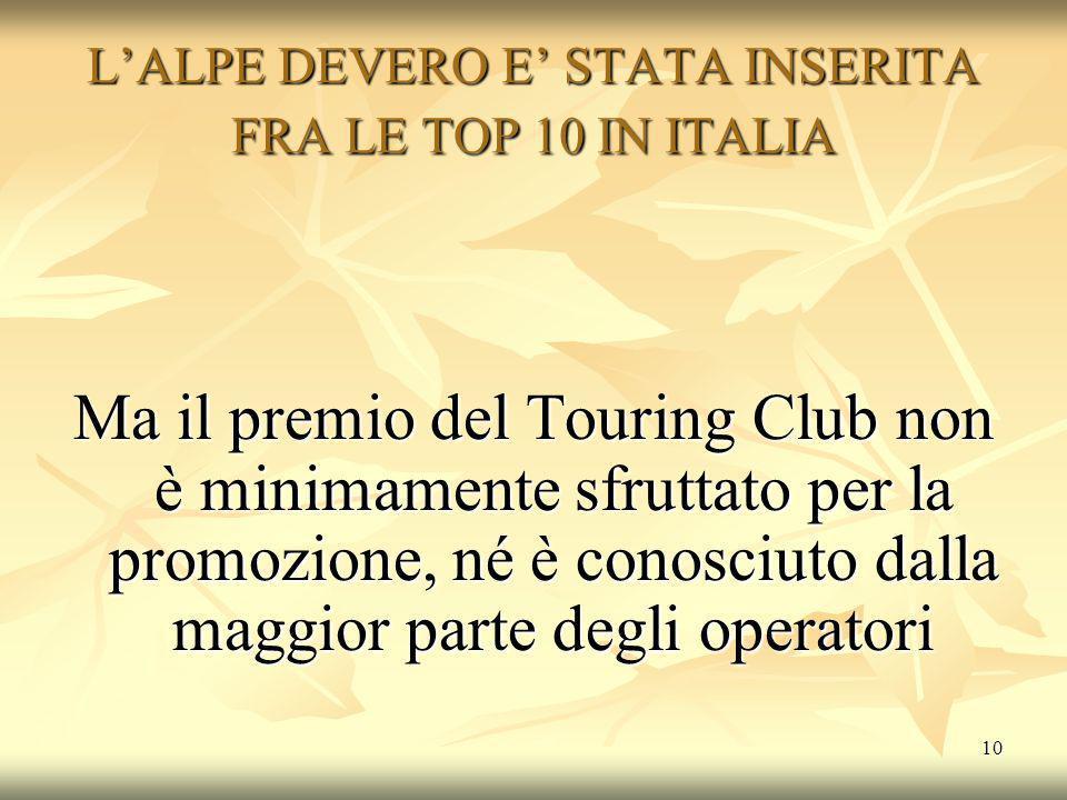 10 L'ALPE DEVERO E' STATA INSERITA FRA LE TOP 10 IN ITALIA Ma il premio del Touring Club non è minimamente sfruttato per la promozione, né è conosciuto dalla maggior parte degli operatori