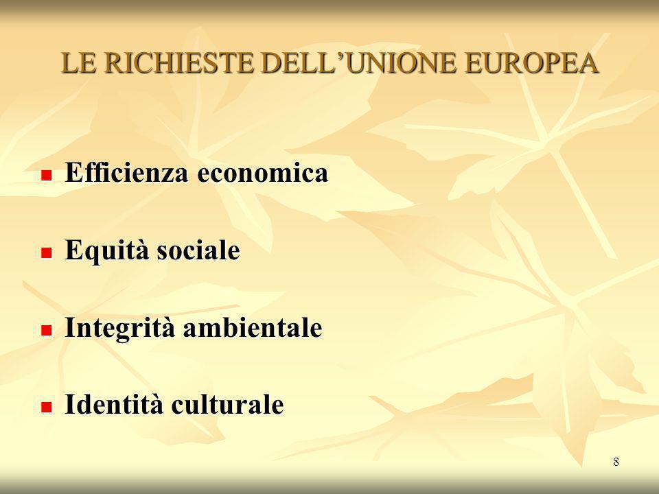 8 LE RICHIESTE DELL'UNIONE EUROPEA Efficienza economica Efficienza economica Equità sociale Equità sociale Integrità ambientale Integrità ambientale I