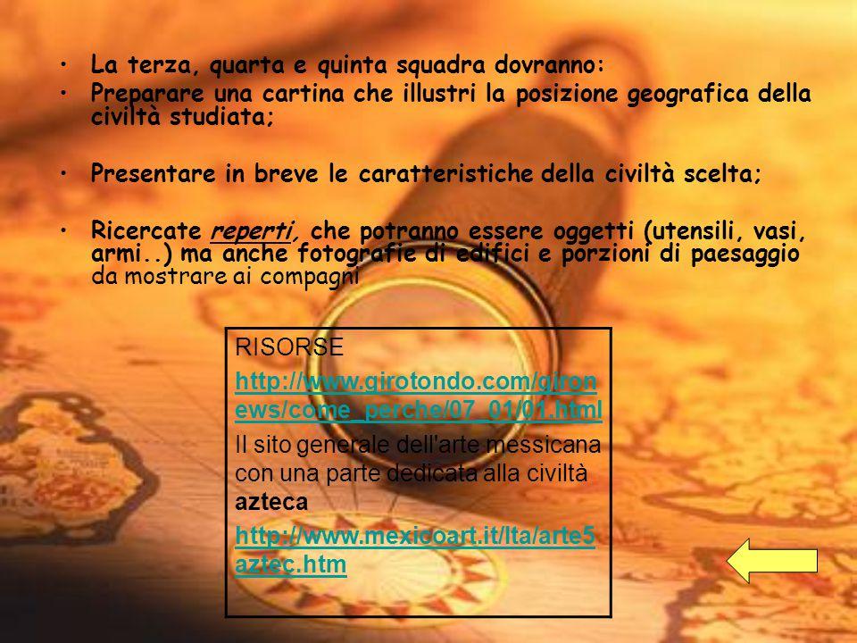 La terza, quarta e quinta squadra dovranno: Preparare una cartina che illustri la posizione geografica della civiltà studiata; Presentare in breve le caratteristiche della civiltà scelta; Ricercate reperti, che potranno essere oggetti (utensili, vasi, armi..) ma anche fotografie di edifici e porzioni di paesaggio da mostrare ai compagni RISORSE http://www.girotondo.com/giron ews/come_perche/07_01/01.html Il sito generale dell arte messicana con una parte dedicata alla civiltà azteca http://www.mexicoart.it/Ita/arte5 aztec.htm