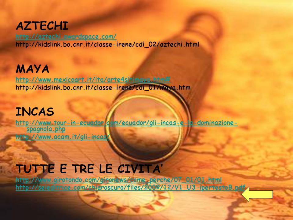 AZTECHI http://aztechi.awardspace.com/ http://kidslink.bo.cnr.it/classe-irene/cdi_02/aztechi.html MAYA http://www.mexicoart.it/ita/arte4sitimaya.htm#