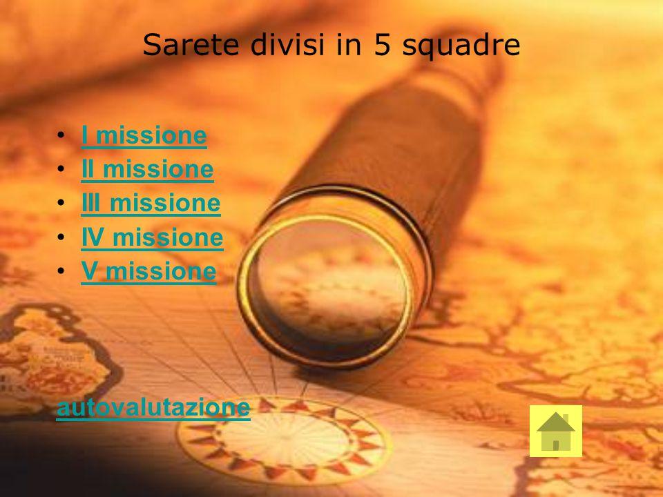 Sarete divisi in 5 squadre I missione II missione III missione IV missione V missione autovalutazione