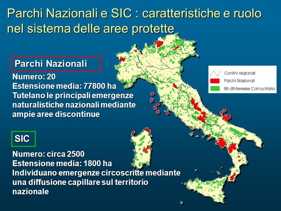 Parchi Nazionali e SIC : caratteristiche e ruolo nel sistema delle aree protette Numero: 20 Estensione media: 77800 ha Tutelano le principali emergenz