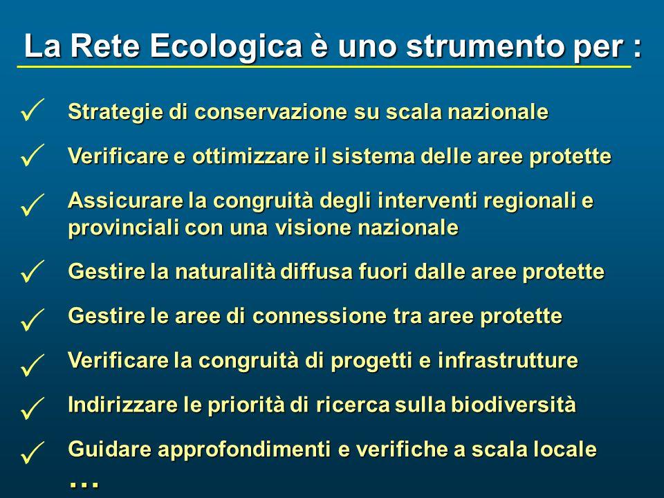 La Rete Ecologica è uno strumento per : Strategie di conservazione su scala nazionale Verificare e ottimizzare il sistema delle aree protette Assicura