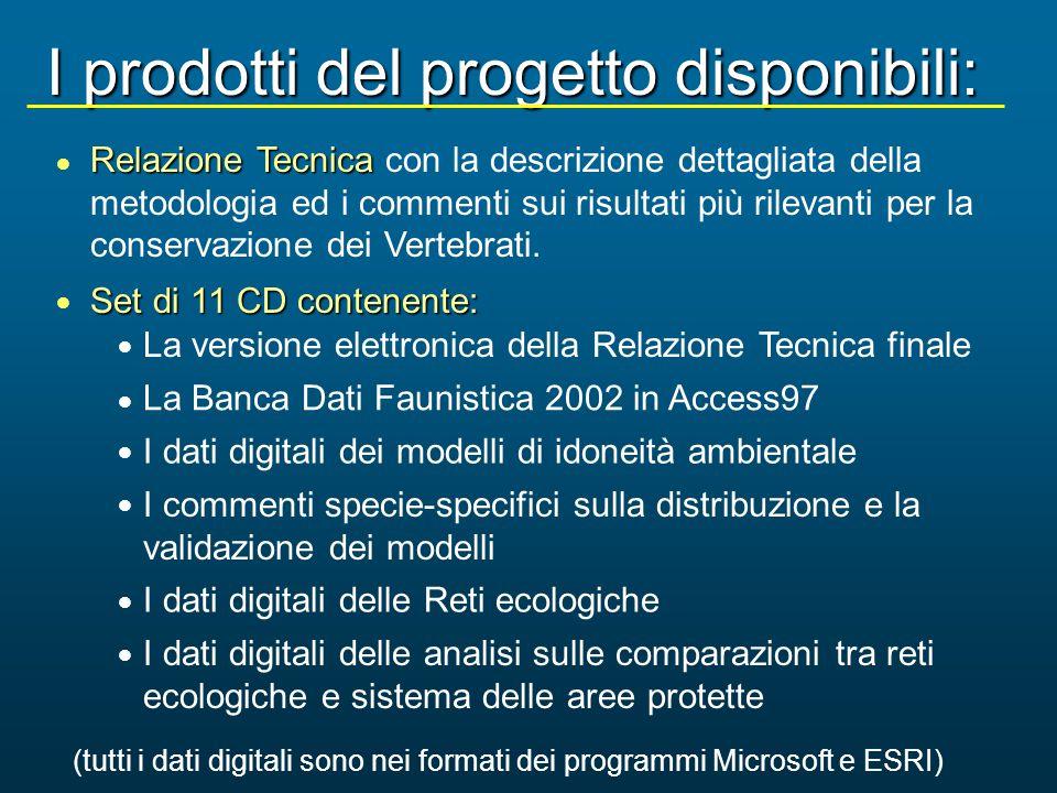 I prodotti del progetto disponibili: Relazione Tecnica Relazione Tecnica con la descrizione dettagliata della metodologia ed i commenti sui risultati