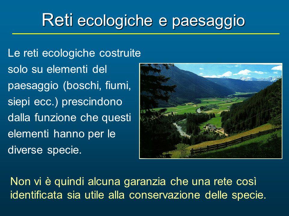 Le reti ecologiche costruite solo su elementi del paesaggio (boschi, fiumi, siepi ecc.) prescindono dalla funzione che questi elementi hanno per le di