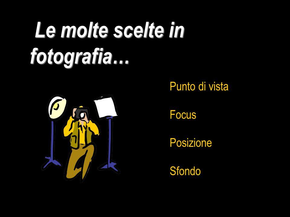 Le molte scelte in fotografia… Le molte scelte in fotografia… Punto di vista Focus Posizione Sfondo
