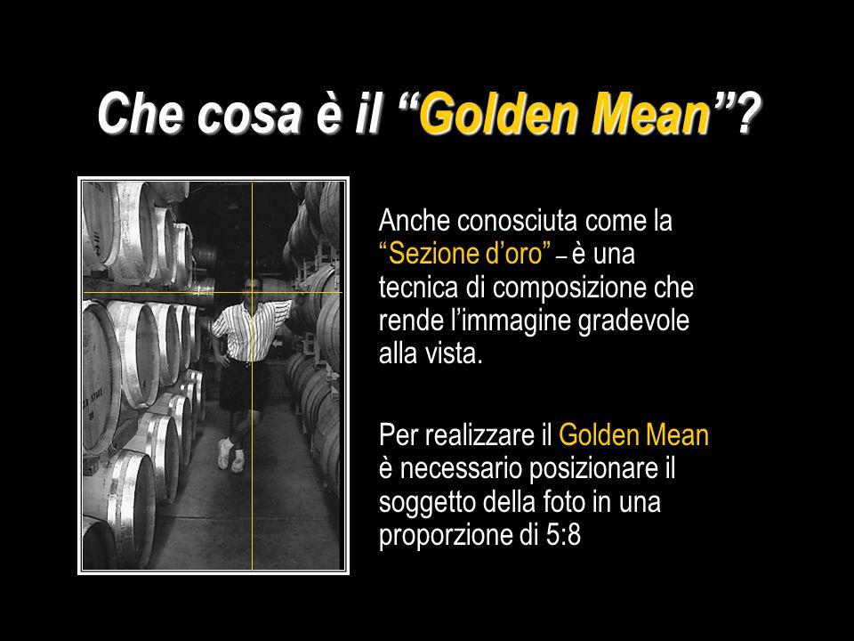 Il GOLDEN MEAN 8 5 5 8 Per fissare la posizione dell'orizzonte Per suddividere la composizione in proporzioni bilanciate.