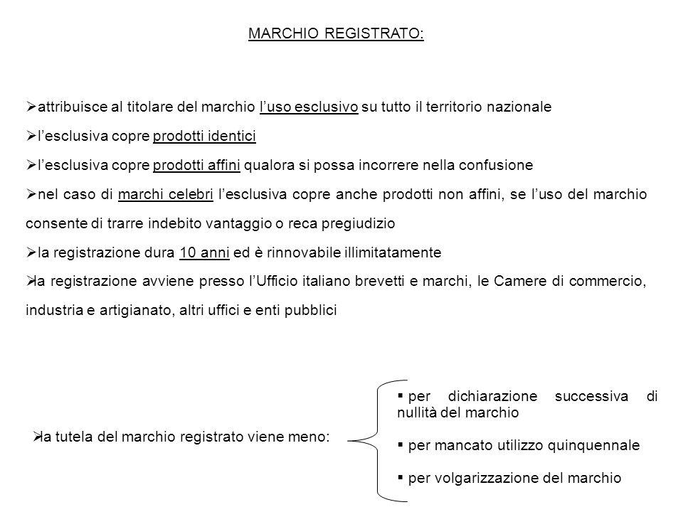 MARCHIO REGISTRATO:  attribuisce al titolare del marchio l'uso esclusivo su tutto il territorio nazionale  l'esclusiva copre prodotti identici  l'e