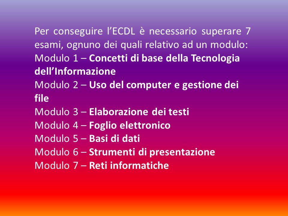 Per conseguire l'ECDL è necessario superare 7 esami, ognuno dei quali relativo ad un modulo: Modulo 1 – Concetti di base della Tecnologia dell'Informazione Modulo 2 – Uso del computer e gestione dei file Modulo 3 – Elaborazione dei testi Modulo 4 – Foglio elettronico Modulo 5 – Basi di dati Modulo 6 – Strumenti di presentazione Modulo 7 – Reti informatiche