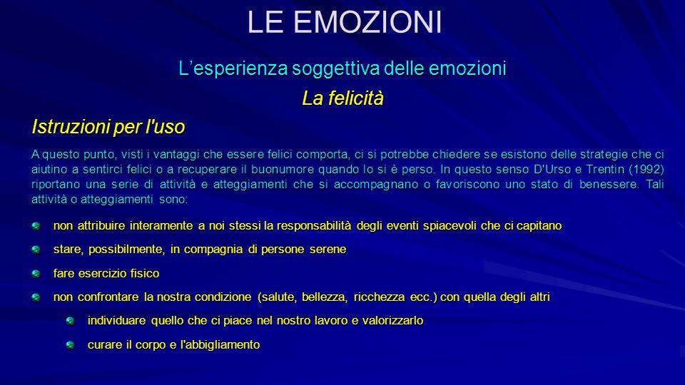 L'esperienza soggettiva delle emozioni La felicità Istruzioni per l'uso A questo punto, visti i vantaggi che essere felici comporta, ci si potrebbe ch