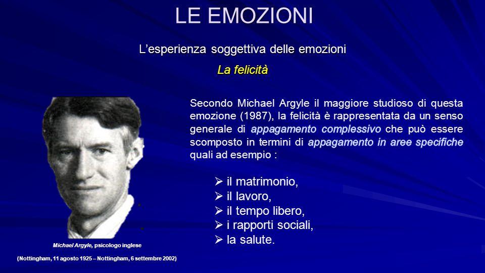 L'esperienza soggettiva delle emozioni La felicità LE EMOZIONI Michael Argyle, psicologo inglese (Nottingham, 11 agosto 1925 – Nottingham, 6 settembre 2002)
