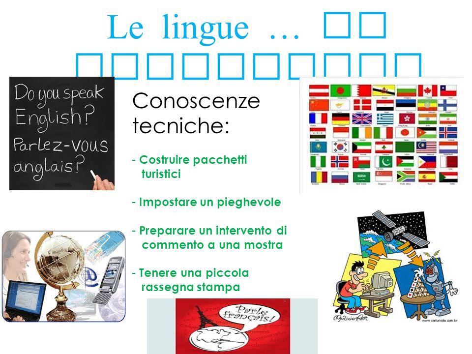 Le lingue … la tecnologia Conoscenze tecniche: - Costruire pacchetti turistici - Impostare un pieghevole - Preparare un intervento di commento a una m