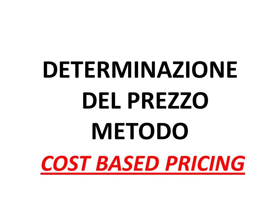 DETERMINAZIONE DEL PREZZO METODO COST BASED PRICING