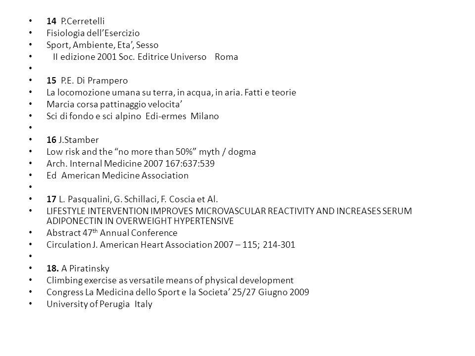 14 P.Cerretelli Fisiologia dell'Esercizio Sport, Ambiente, Eta', Sesso II edizione 2001 Soc. Editrice Universo Roma 15 P.E. Di Prampero La locomozione