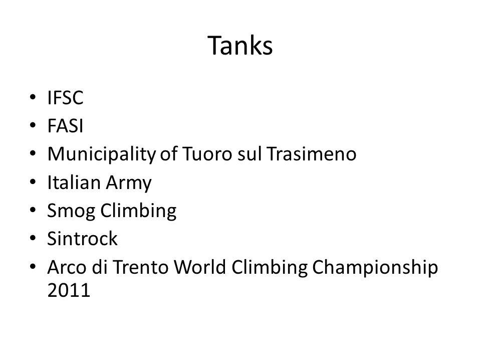 Tanks IFSC FASI Municipality of Tuoro sul Trasimeno Italian Army Smog Climbing Sintrock Arco di Trento World Climbing Championship 2011