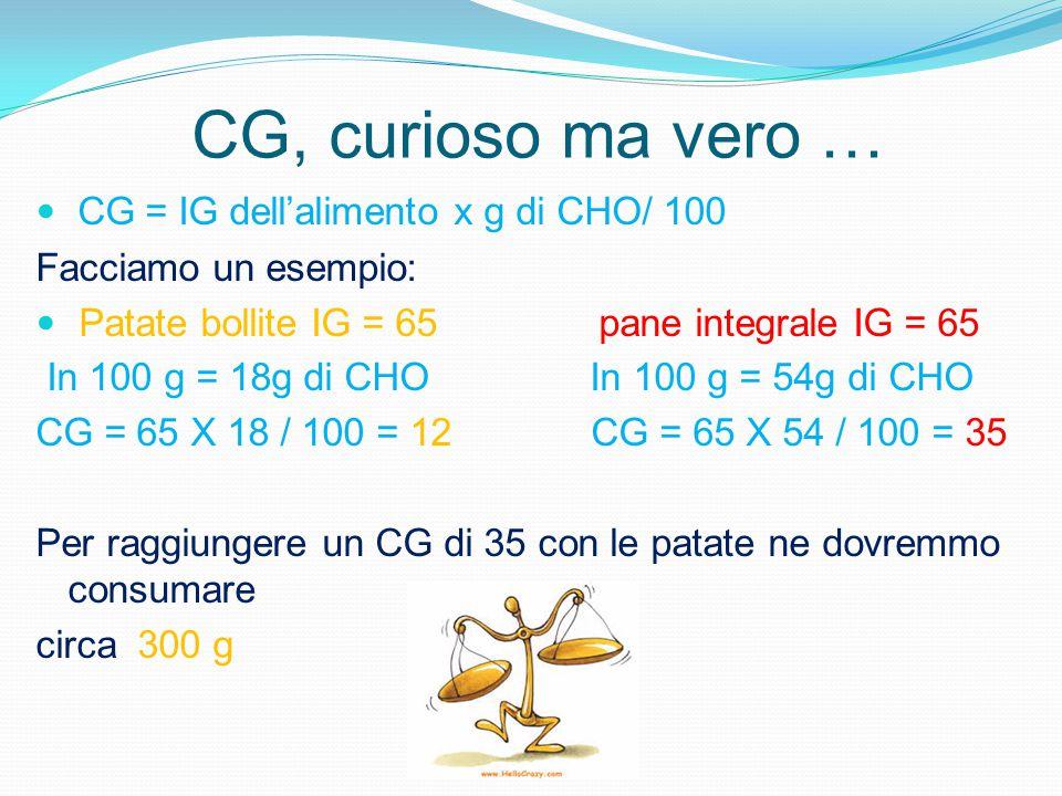 CG, curioso ma vero … CG = IG dell'alimento x g di CHO/ 100 Facciamo un esempio: Patate bollite IG = 65 pane integrale IG = 65 In 100 g = 18g di CHO I