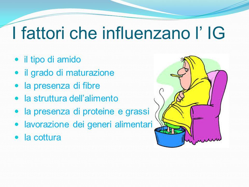 I fattori che influenzano l' IG il tipo di amido il grado di maturazione la presenza di fibre la struttura dell'alimento la presenza di proteine e gra