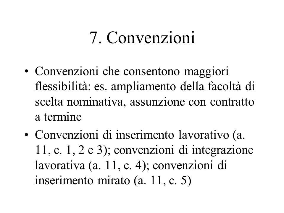 7. Convenzioni Convenzioni che consentono maggiori flessibilità: es.