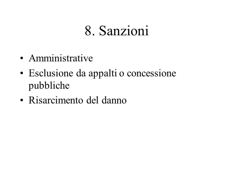 8. Sanzioni Amministrative Esclusione da appalti o concessione pubbliche Risarcimento del danno